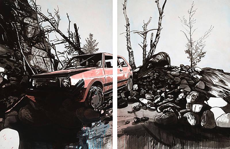 Ohne Titel – 2015 – Öl auf Papier, 192 x 294