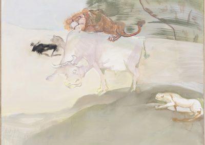 Helle Kuh, 2016 | Leimfarbe auf Leinwand, 140 x 135 cm