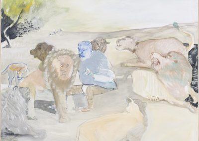 Löwenershaffung, 2x schwarz, 2017 | Leimfarbe auf Leinwand, 140 x 170 cm