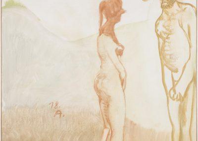 Pfahl 2 (Glauber Indianer) 2(18), 2018 | Leimfarbe auf Leinwand, 100 x 83 cm