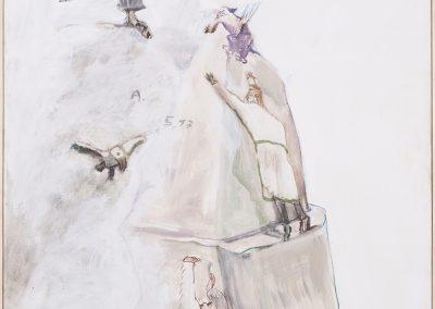 K letterer in weiß, 2017 | Leimfarbe auf Leinwand, 97 x 73 cm