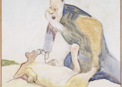 Löwenerschaffung, 2018 | Leimfarbe auf Leinwand, 75 x 68 cm