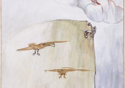 Adler quer, 2017 | Leimfarbe auf Leinwand, 120 x 95 cm