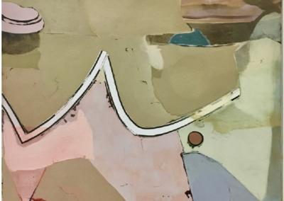 o.T. 2019 140x90cm Gesso, Tempera, Tusche, Sprühfarbe auf Baumwolle