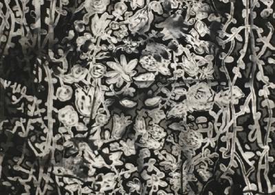 o.T. 2019 180x120cm Gesso, Tusche, Sprühfarbe auf Baumwolle