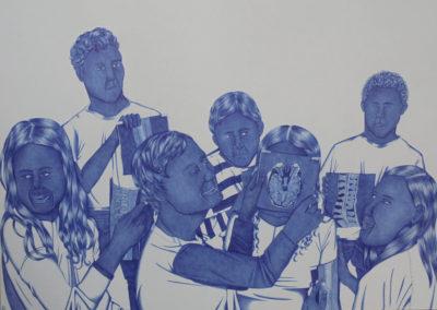 "Assunta Azim Abdel Mohammed, ""Empty promises I"", 59,8x42cm, Kugelschreiber auf Papier, 2018"