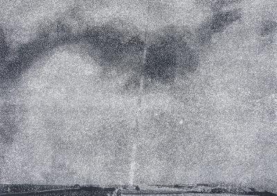 "Sebastian Speckmann, ""Rain"", 60x45cm, Linolschnitt, Auflage 7, 2018"