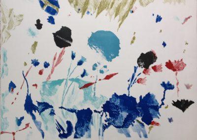 Max Weiler, Blaue Blume, Farblithografie, 1990, 7-120, 50 x 65 cm (c) Nachlass Weiler
