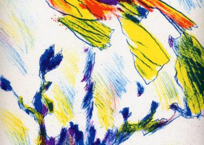 Max Weiler, Blume, 1989, Farblithografie, 29 x 29 cm,