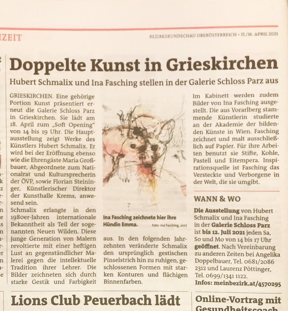 Nachrichten Artikel über Hubert Schmalix und Ina Fasching in der Galerie Schloss Parz