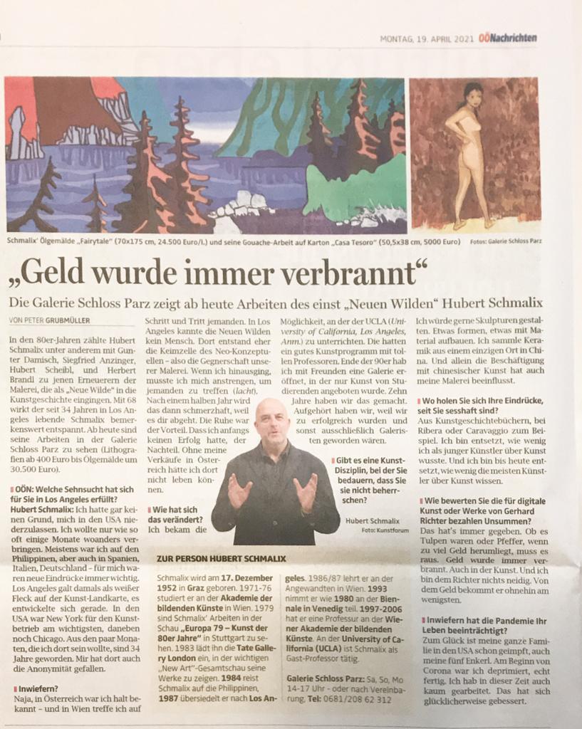 News Artikel in den Oberösterreichischen Nachrichten zu dem neuen Wilden Hubert Schmalix und Ina Fasching in der Galerie Schloss Parz