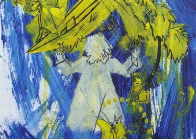 """Kunstwerk - Mondscheinkratzen von Christian Ludwig Attersee auf der Kunstmesse """"Linzer Kunstsalon"""" - Größe: 31,5x22 - Preis: 3.950€"""